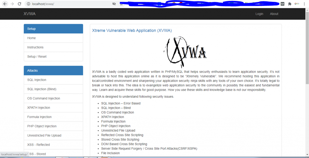 Xtreme vulnerable web application